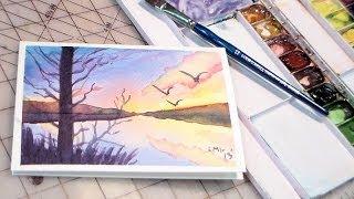 getlinkyoutube.com-watercolor sunset tutorial