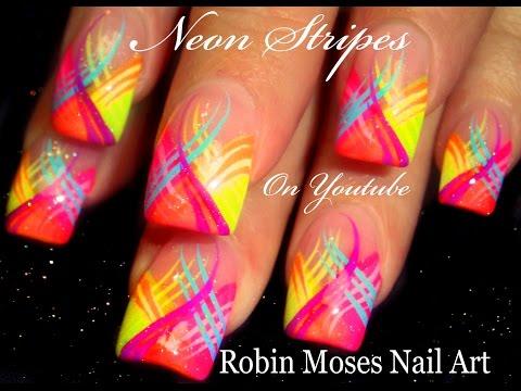 Neon Stripes Nail Art  Design Tutorial!