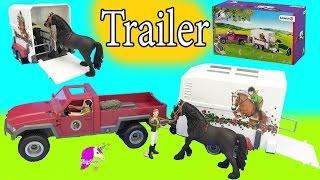 getlinkyoutube.com-Schleich Horses Club Truck and Horse Trailer Playset with Friesian Mare
