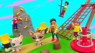 getlinkyoutube.com-Playmobil Playset Zip Line Rock Climbing Wall Activity Playground Park Surprise Blind Bag Happy LPS