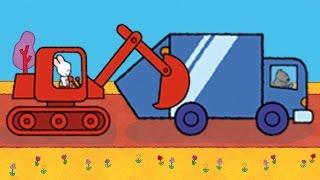 getlinkyoutube.com-Didou, dessine-moi une Pelleteuse, un Camion Poubelle et Hydroglisseur | Dessin animé pour enfants