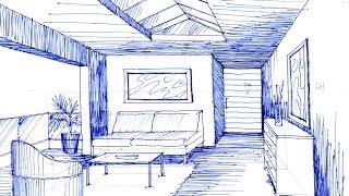 getlinkyoutube.com-Como dibujar  en perspectiva  un espacio con 1 punto de fuga