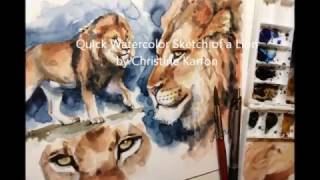 getlinkyoutube.com-Watercolor sketch painting Lion study by Ch.Karron