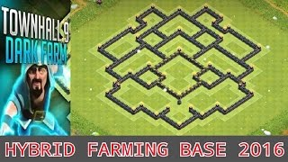 getlinkyoutube.com-Town Hall 9 *New* (Hybrid DE Farming Base 2016/Protect Storages) + Defense Replays