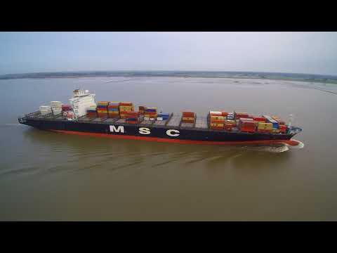 Click to view video MSC Paris inbound Port of Hamburg - filmed via drone