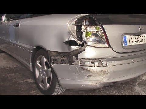Mercedes 220CDI W203 кузовной ремонт задний левый удар