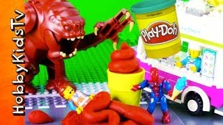 getlinkyoutube.com-PLAY-DOH The LEGO Movie Emmet and SPIDER-MAN Rancor and the ice cream canon