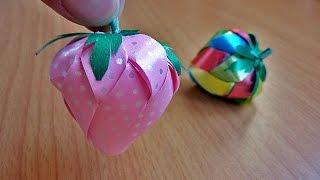 getlinkyoutube.com-วิธีพับเหรียญโปรยทาน สตรอว์เบอร์รี  ใช้ริ้บบิ้น 4 สี  | Loveja