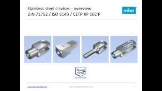 mbo Osswald - clevises, clevis joints, stainless steel, DIN 71752, ISO 8140, CETOP RP 102P