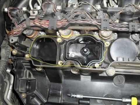 Замена фильтра сапуна (фильтра картерных газов) БМВ Е60 Replacement filter crankcase gases BMW E60