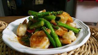 getlinkyoutube.com-Asparagus stir fried with shrimp ผัดหน่อไม้ฝรั่งกุ้ง