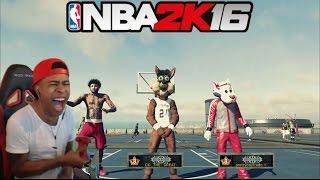 getlinkyoutube.com-NBA 2K16| Legend 3 Mascot Trash talking!! PT.2| Funny Moments with fans @ MyPark !! - Prettyboyfredo