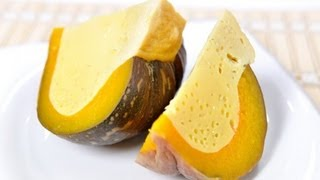 getlinkyoutube.com-[Thai Food] Custard Steamed in Pumpkin (Sang Ka Ya Fak Thong)