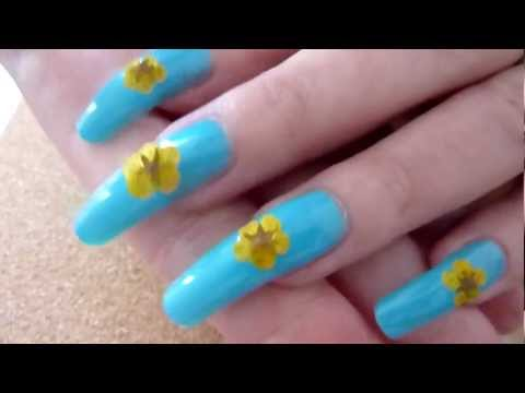 Simple Spring Dried Flower Nail Art Tutorial Design - Reviewing BornPrettyStore Products HD Video