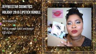 getlinkyoutube.com-Jeffreestar Cosmetics Holiday 2016 liquid lipstick bundle| Full lip swatches on Dark Skin + Review