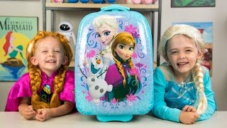 getlinkyoutube.com-HUGE Frozen Backpack Surprise Toys Disney Princess Elsa Anna Fashems My Little Pony Kinder Playtime