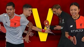 getlinkyoutube.com-Coutinho & Firmino Vs Klopp & Liu | Year of the Rooster Table Tennis Challenge