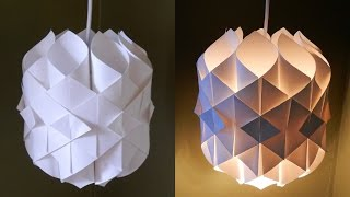 getlinkyoutube.com-DIY paper lamp/lantern (Cathedral light) - how to make a pendant light out of paper - EzyCraft