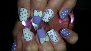 getlinkyoutube.com-Acrylic Nails l Purple White l Nail Design