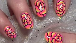 getlinkyoutube.com-Rosen Nageldesign selber malen / Rose Nail Art Design Tutorial
