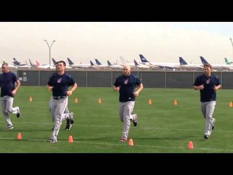 Indians pitchers, conditioning drills
