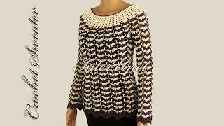 getlinkyoutube.com-Sweater pullover with long sleeves – crochet pattern with two colors combination