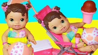 getlinkyoutube.com-BABY ALIVE Doll Videos Swimming Beach Clothes Journey Girl Epic Summer Set BABY DOLL Playset