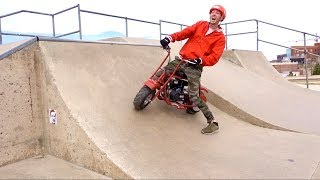 TOY DIRT BIKE AT THE SKATE PARK!