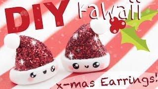 getlinkyoutube.com-♡ DIY GLITTER Santa Hat Earrings! ♡ | Kawaii Friday