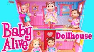 getlinkyoutube.com-Baby Alive DOLLHOUSE TOUR Lalaloopsy Frozen Elsa Toddler Dolls Babies HUGE WOODEN Baby Alive Toy