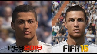 FIFA 16 vs PES 2016 Real Madrid Player Faces Comparison