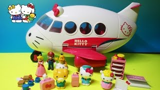 getlinkyoutube.com-Hello Kitty Airlines Playset Airplane Toys Review  With Hello Kitty, Jodie, Fifi
