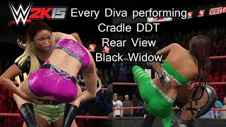 getlinkyoutube.com-WWE 2K15 (PS4) Every Diva performing the Rear View, Cradle DDT & Black Widow