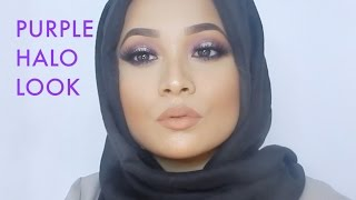 getlinkyoutube.com-Simple Hijab Tutorial NO PINS + Purple Halo Glowy Makeup Tutorial