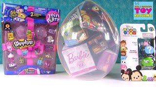 Shopkins Giant Surprise Egg #26 Unboxing Disney Barbie Slitherio Trolls | PSToyReviews