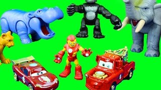 getlinkyoutube.com-Disney Pixar Iron Man Iron Car Mater & Lightning McQueen go to Jungle to save Imaginext Superman