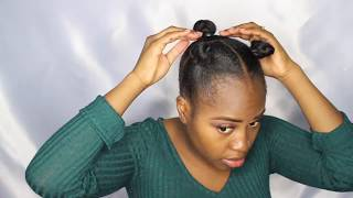 "getlinkyoutube.com-Another quick, cute and easy hairstyle ""2 little top knots with high puff"" 30 mins or less"