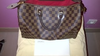 getlinkyoutube.com-Comparaison vrai et faux sac louis vuitton speedy damier / Authentic and fake louis vuitton speedy