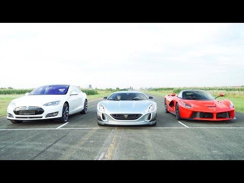 Tesla Model S, Ferrari LaFerrari And Rimac Concept One