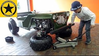 getlinkyoutube.com-Little Boy(3) assembles and drives WILLYS JEEP!