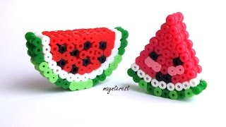 getlinkyoutube.com-SANDÍAS 3D KAWAII de hama beads (perler beads) | Watermelons