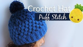 Gradient hat with puff stitch - Crochet / Gorrito en punto piña