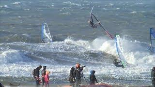getlinkyoutube.com-Insane surf and windsurf october storm Scheveningen Holland rider: Ronald Stout