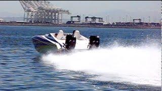 getlinkyoutube.com-Skater Flyby 600HP High Speed Boat in Long beach California Twin Mercury Pro Max 300's