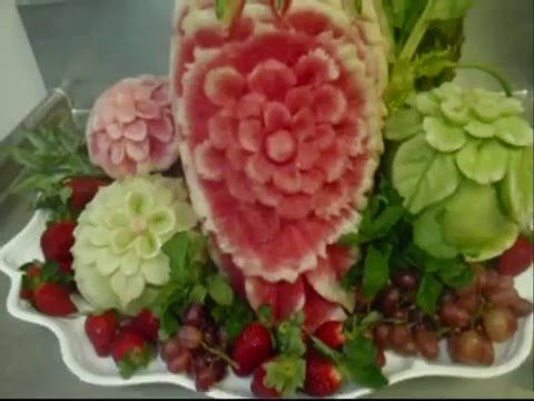 watermelon carving for baby shower. watermelon carving and centerpiece display 3:20