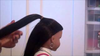 getlinkyoutube.com-How to do a Bow Hairtstyle on your American Girl Doll! (Just using Hair!) :)