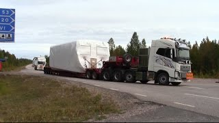 getlinkyoutube.com-Volvo FH16 750hp 8x4 - FH16 580hp 6x4 - Scania R480 6x4 - Transport of NORDEX windmill parts