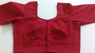 getlinkyoutube.com-Single Katori Blouse Measurement Paper cutting and Stitching Part 5