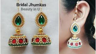 getlinkyoutube.com-How to make Designer Bridal Silk Thread Earrings/Jhumkas at Home  Tutorial