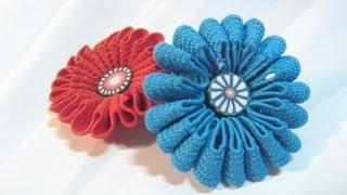 getlinkyoutube.com-Cómo hacer flores de cinta. How to make ribbon flowers.